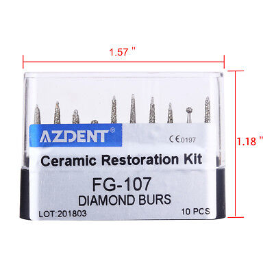Usps Dental Diamond Burs Ceramic Restoration Kit Fg-107 For High Speed Handpiece