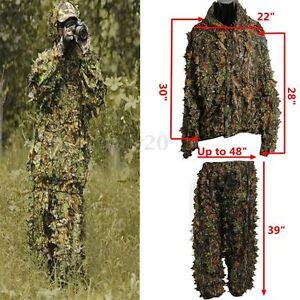 3D Leaf Camo Camouflage Jungle Hunting Ghillie Suit Set Woodland Training Sniper