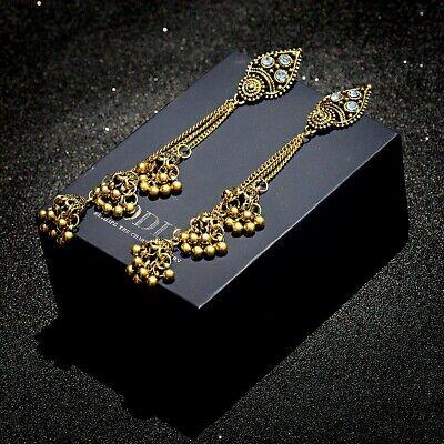 Women's Bell Gypsy Gemstone Tassel Bead Jhumka Indian Charm Drop Tassel Earrings - Gemstone Charm Earrings