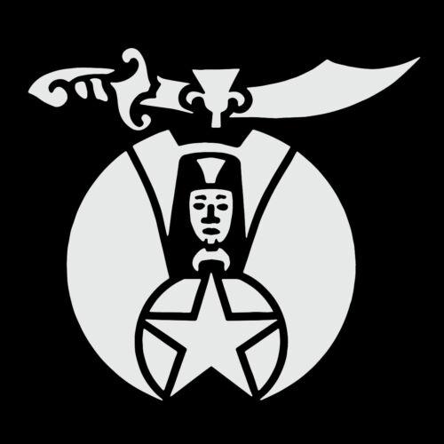 Shriner Masonic Vinyl Decal - White 6 Inch