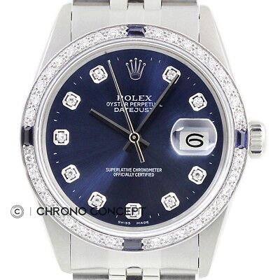 Rolex Mens Datejust Blue Diamond Sapphire 18K White Gold & Stainless Steel Watch