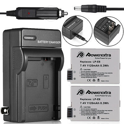 LP-E8 Battery Pack + Charger for Canon Rebel T2i T3i T4i T5i Kiss X5 EOS 550D 19