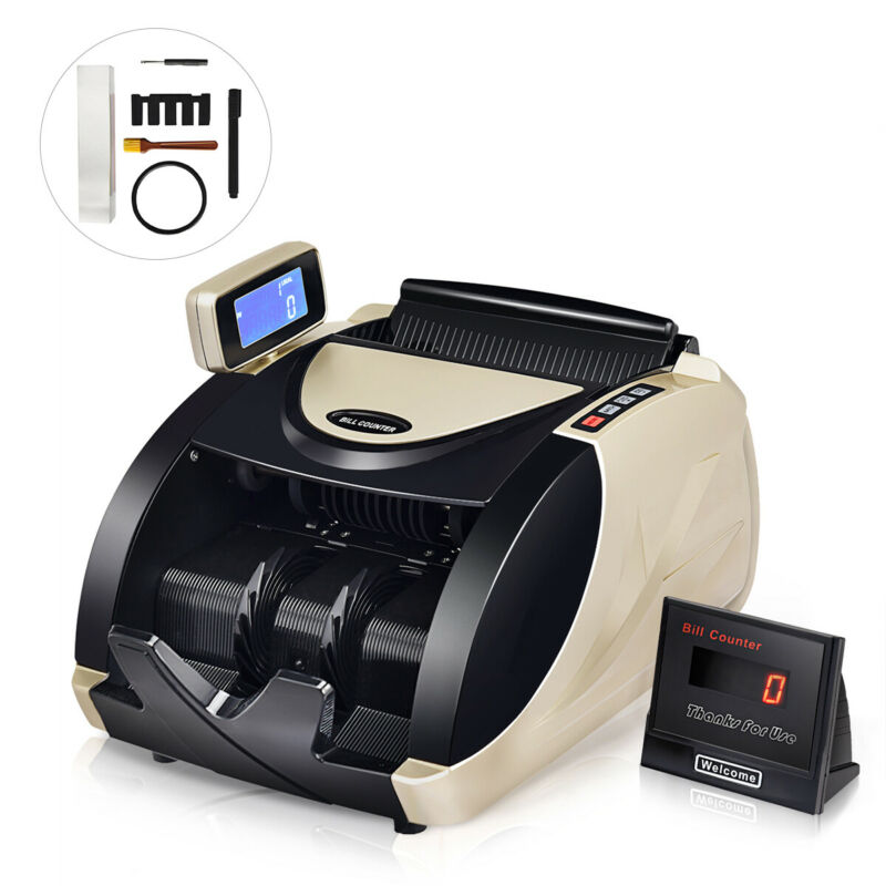 Currency Counter Money Cash Countting Machine Counterfeit Bill Detector UV MG