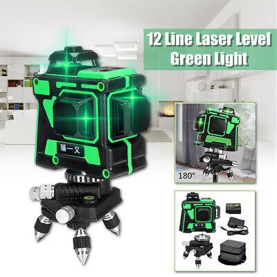 3D 12 Lines Green Laser Level 360° Self Leveling Li-ion Cross Measure Tool Kit Self-leveling Cross Line Laser
