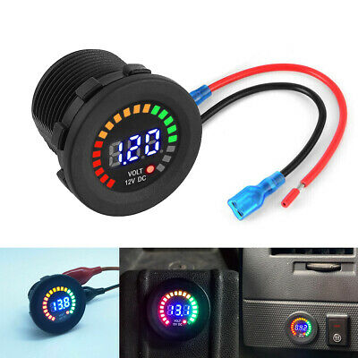 Dc 12v Rgb Led Panel Digital Voltage Volt Meter Display Voltmeter Motorcycle Car