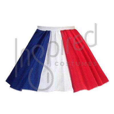 Girls FRENCH Flag Circle Skirt OLYMPICS School WORLD FLAG Bastille DAY Tricolore