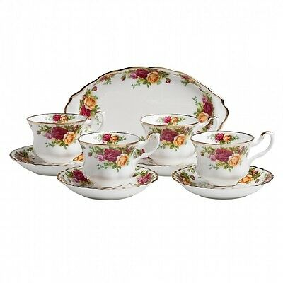 ROYAL ALBERT OLD COUNTRY ROSES 9 PIECE TEA SET BRAND NIB #IOLCOR20102 BARGAIN FS