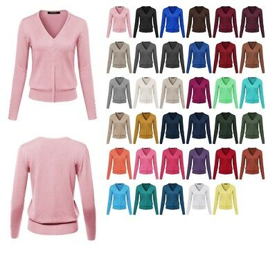 FashionOutfit Women's Basic Solid V-Neck Cuff Button Detail Sweater Cardigan