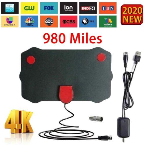[980 Miles] Clear Indoor Digital TV HDTV Antenna [2020 Latest] UHF/VHF/1080p 4K.