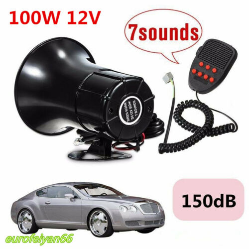 Autos 100W 150DB Warning Alarm Police Fire Siren Horn PA Speaker System 7-Sound
