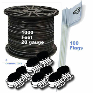 DOG-FENCE-1000-FT-20-Ga-BOUNDARY-WIRE-100-FLAGS-8-CONNECTORS-KIT