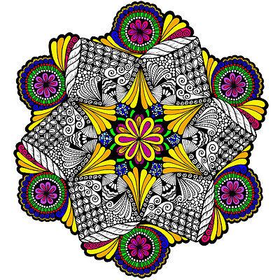 Spiral Stitch Mandala Large 22x22 Inch Coloring Poster ()