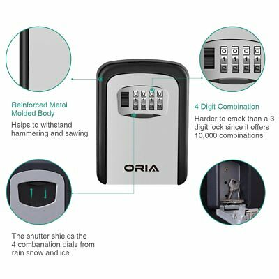 Oria 4digit Combination Key Lock Storage Case Box Wall Mount Safesecurity Home