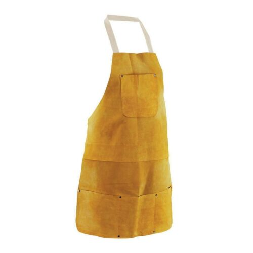 "Leather Welding Apron BBQ Bib Heat Insulated Safety Work Tool Pocket 22"" x 32 in"