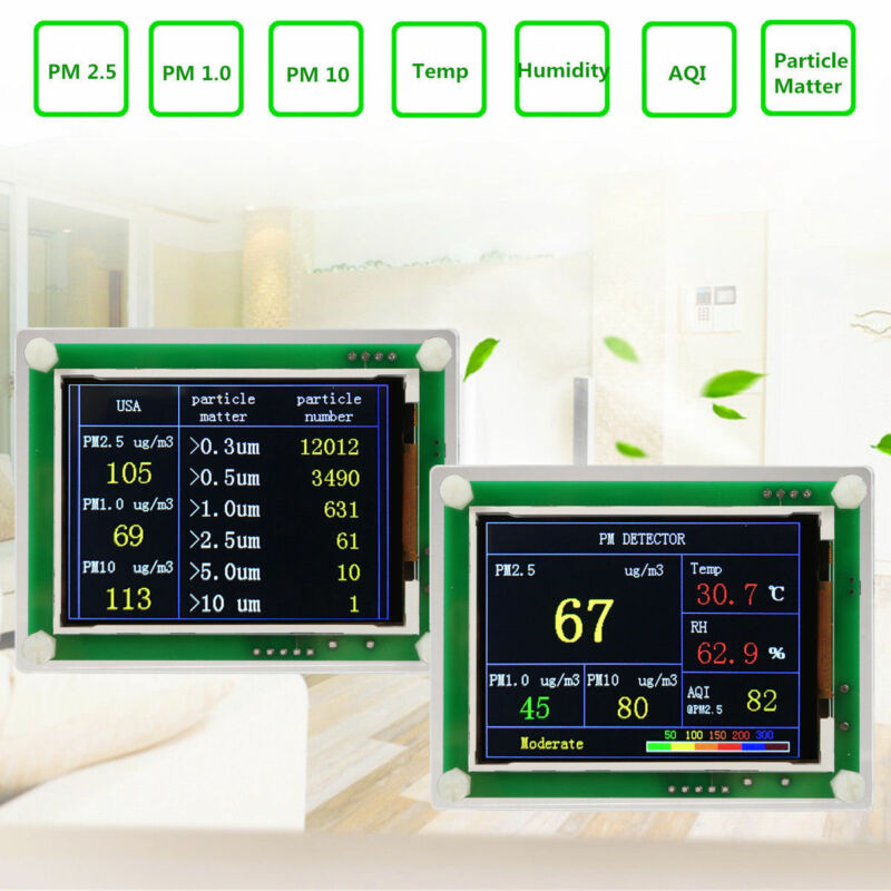 "Portable 2.8""LCD Digital Car PM2.5 Detector Tester Meter Air Quality AQI Monitor"