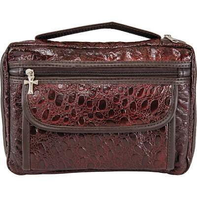 BIBLE COVER Leather Burgundy Faux Alligator Large Holy Book Case Cross Zipper