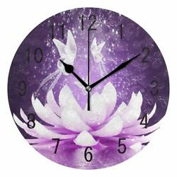 Nice Wall Clock 9.44 lOTUS Butterfly Fairy Purple Flower Shabby Chic Farmhouse
