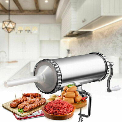 Manual Sausage Stuffer Maker 3 L With Suction Base Stainless Steel New