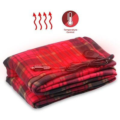 12V Car SUV Heated Travel Electric Blanket Soft Fleece Warm Quilt Safe Red Plaid