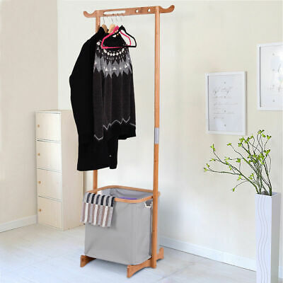 Bamboo Clothes Drying Rack Laundry Hamper Garment Hanger Sto