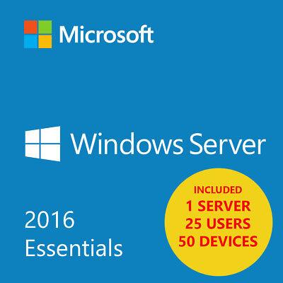 Msft Window Server 2016 Essentials X64 64 Bit 25 User   50 Devices   1 Server