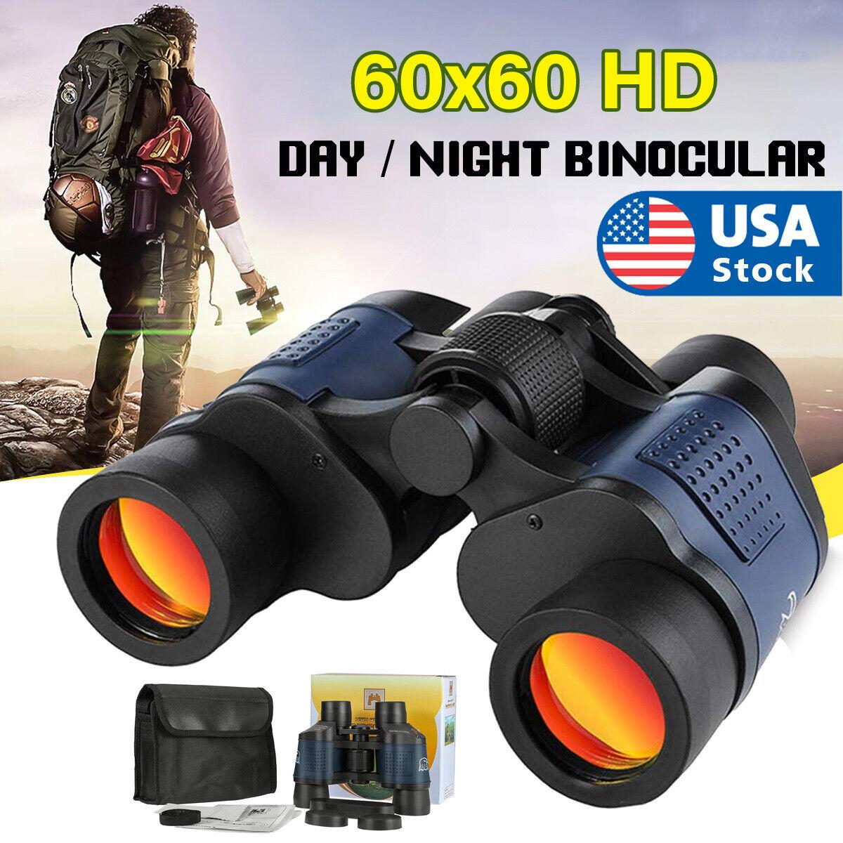 60X60 Zoom Binoculars Day/Night Vision Travel Outdoor HD Hunting Telescope  Bag Binoculars & Monoculars