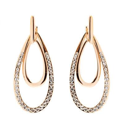 Sevil 18K Gold Plated Swarovski Elements Double Teardrop Drop Earrings Drop Swarovski Elements