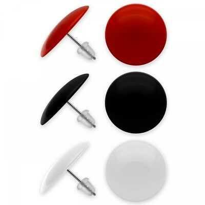 3er Set Ohrstecker Ohrringe schwarz rot weiß rund 50er 60er 80er Look Edelstahl ()