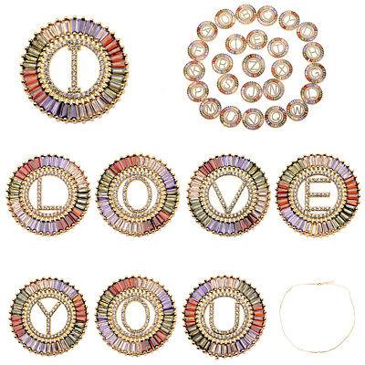 18K Colorful CZ Zircon Letter Beads Diy Bracelets Necklace Pendant Jewelry Gift