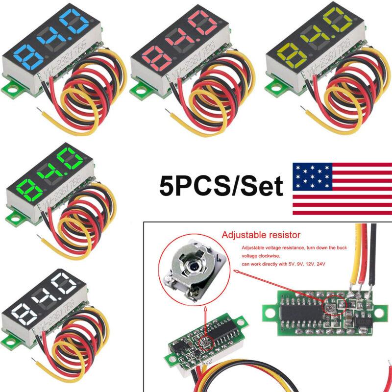 """5 PCS 3-Wires Mini DC 0-100V 0.28"""" 3-Digital Voltmeter LED Voltage Panel Meter"""