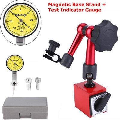00.8mm Dial Test Indicator Gauge Scale Precision W Flexible Base Holder Stand