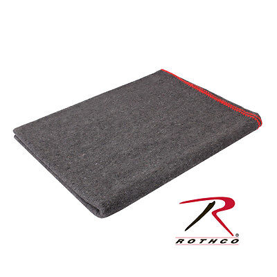 "10529 Rothco Jumbo Grey Wool Survival Emergency Rescue Blanket 66"" x 90"""
