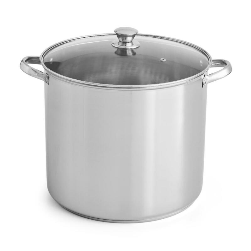 Stainless Steel Stock Pot with Lid Kitchen Cooking 12, 16 an
