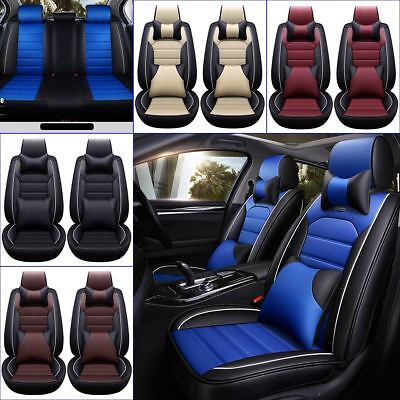 - 11Pcs Car Seat Cover Protector+Cushion Front & Rear Full Set PU Leather Interior