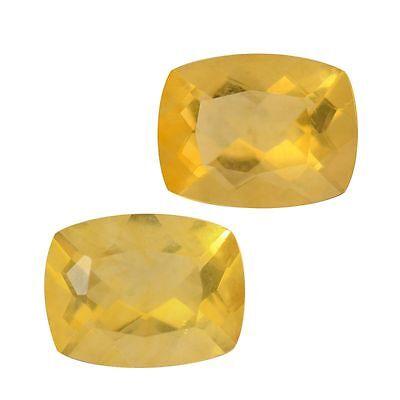 NIB Genuine Canary Yellow Fluorite Set of 2 Gems (Cush 9x7 mm) TGW 4.70 Cts T-32