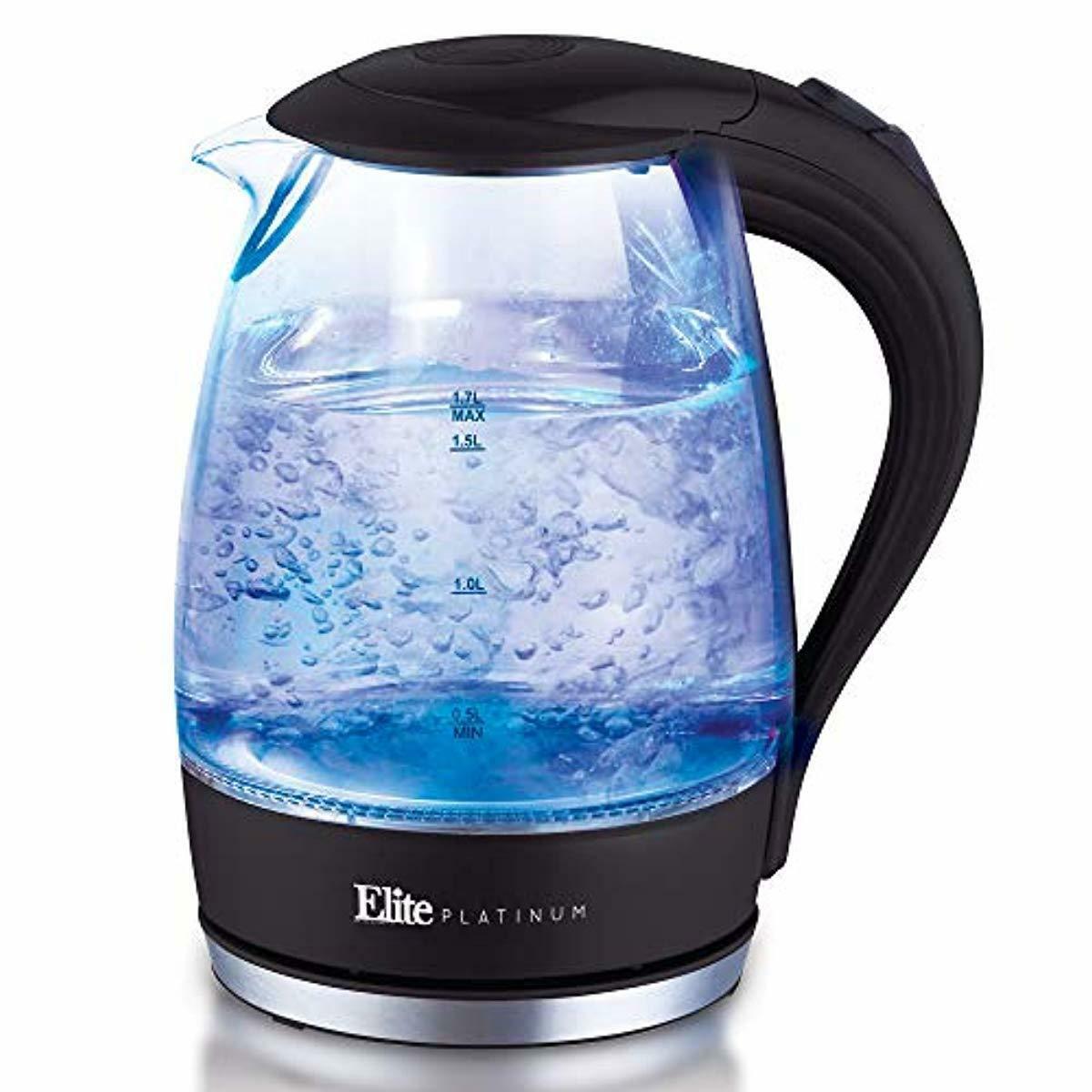 Elite Platinum EKT-300 Glass Electric Tea Kettle Hot Water H