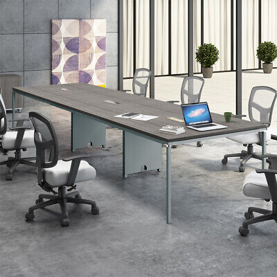 8ft - 12ft Modern Conference Table With Metal Base Optional Power Data Modules