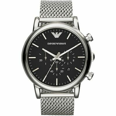 Emporio Armani Men's Black Dial Mesh Stainless Steel Watch AR1808
