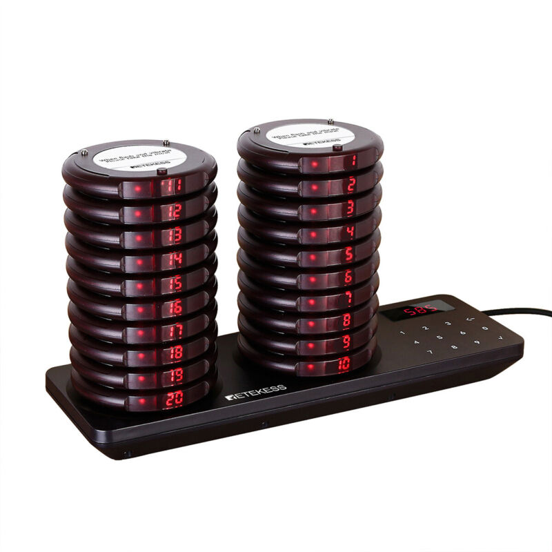 TD163 Restaurant Pager System Calling Queuing 20*Pagers Clinic Food Truck Cafe