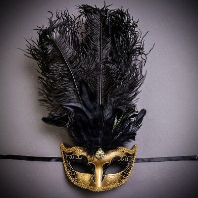 Luxury Mardi Gras Prom Party Masquerade Tall Feather Mask for Women - Gold Black](Party Mask For Women)