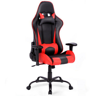 Gaming Chair Racing High Back Office Chair W Lumbar Support And Headrest Red