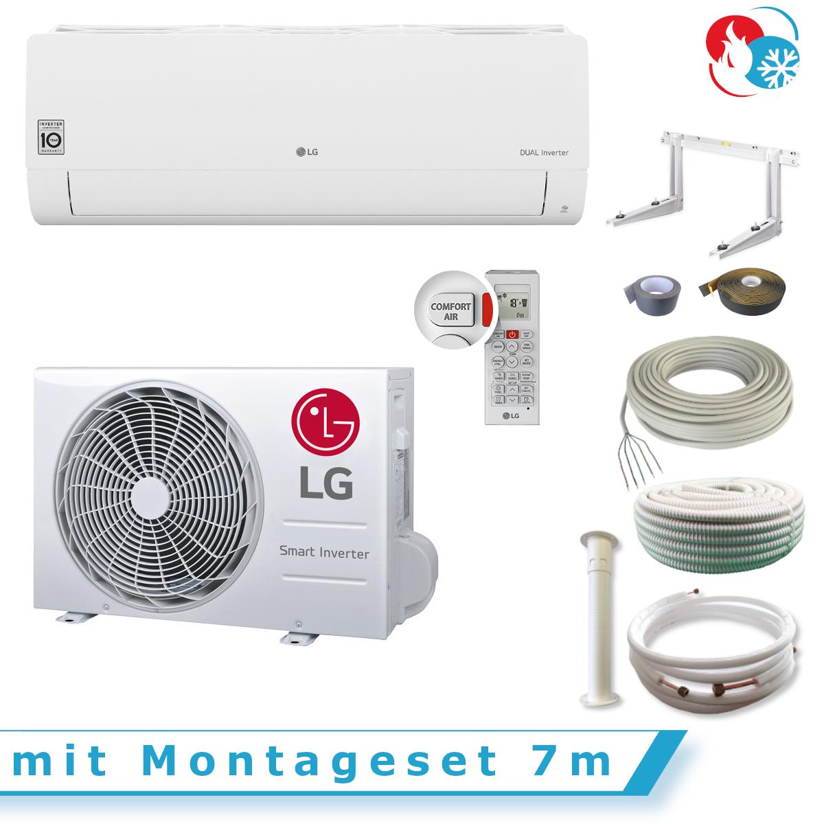 LG Standard Klimaanlage Inverter Split Set S12EQ, 3,5 kW mit Montageset 7m