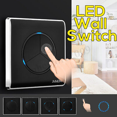 1/2/3/4 Gang 1 Way Panel Home Wall Touch LED Indicator Light Switch Push