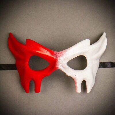 NEW Bloody Devil Mask for Halloween Venetian Eye Masquerade Half Face Red