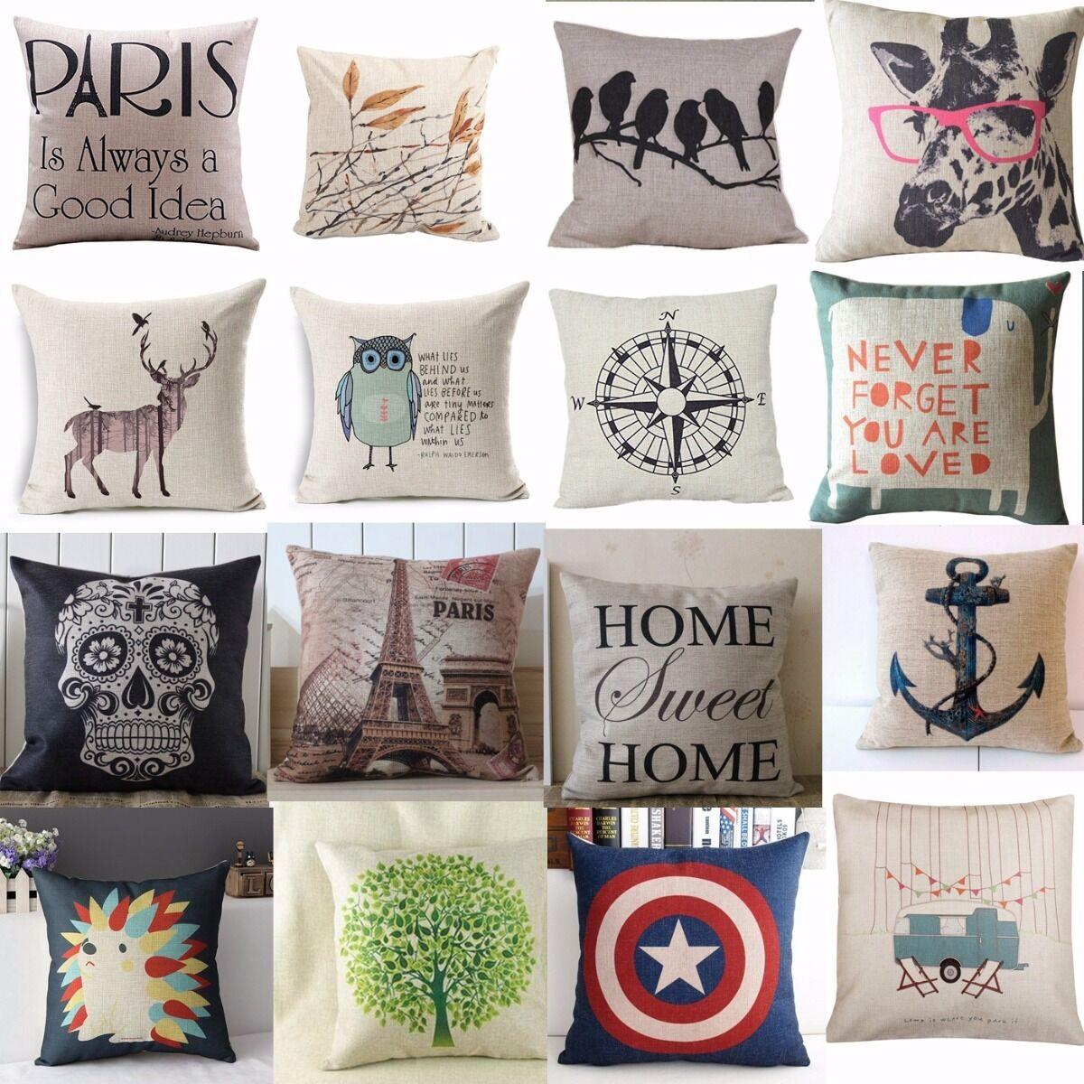 Hot Vintage Home Decor Cotton Linen Pillow Case Sofa Waist Throw Cushion  Cover