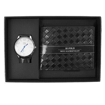 Men S Silver Tone Analog Wrist Watch   Black Wallet Gift Set Box Combo Ww2020b C