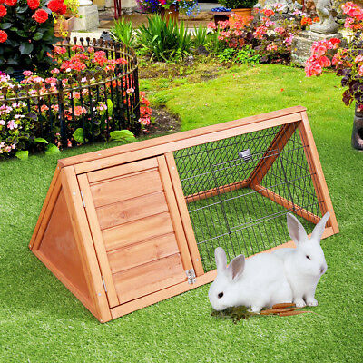 Wooden Chicken Coop A-Frame Rabbit Small Animal Hutch Outdoor Indoor cage Run