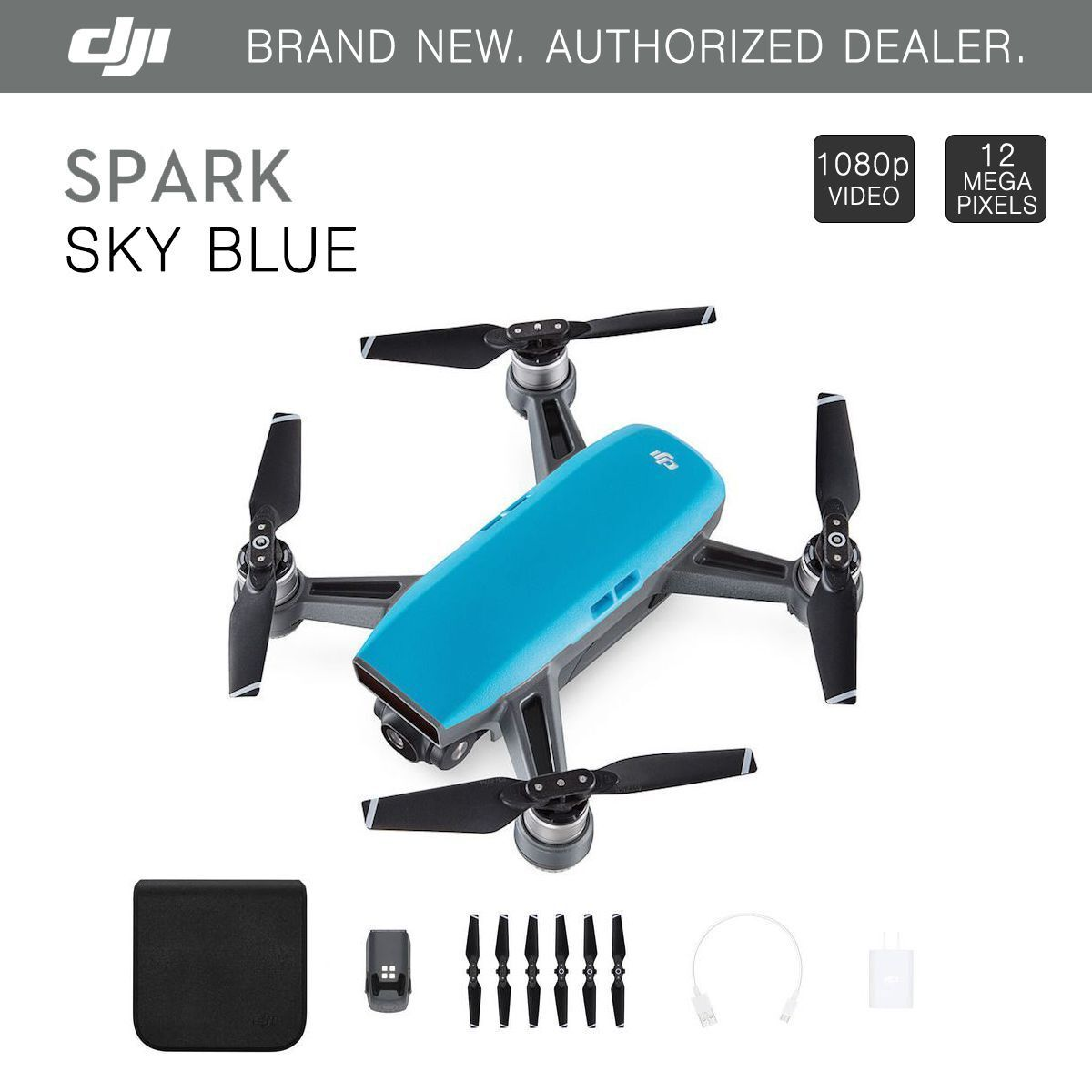 DJI Spark Sky Blue Quadcopter Drone - 12MP 1080p Video