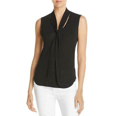 Frame Womens Black Knit Sleeveless Tie Neck Pullover Top Shirt M BHFO 7121 Black Womens Tie