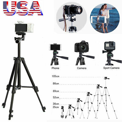 Professional Camera Tripod Stand Mount + Phone Holder +Bag For Cell Phone iPhone